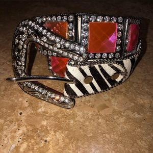 Atlas belt with zebra print and pink bling